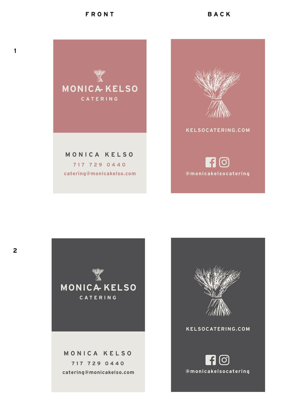 image of business cards for monica kelso catering