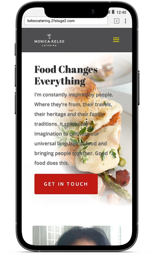 mobile phone image of monica kelso catering website
